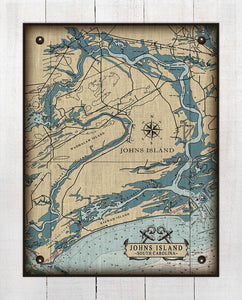 Johns Island South Carolina Nautical Chart - On 100% Natural Linen