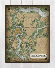 Load image into Gallery viewer, Lady's Island South Carolina Nautical Chart - On 100% Natural Linen