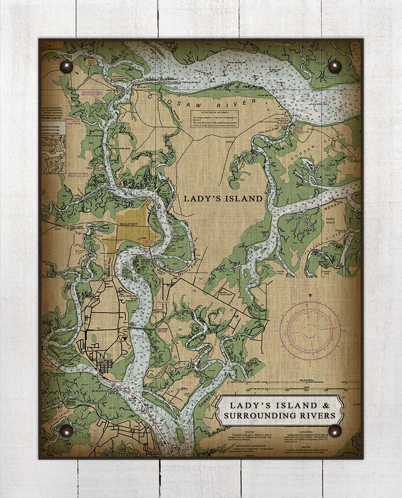 Lady's Island South Carolina Nautical Chart - On 100% Natural Linen