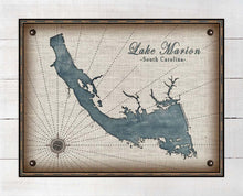Load image into Gallery viewer, Lake Marion South Carolina Map Design - On 100% Natural Linen