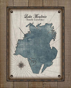 Lake Moultrie South Carolina Map Design - On 100% Natural Linen