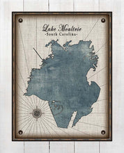 Load image into Gallery viewer, Lake Moultrie South Carolina Map Design - On 100% Natural Linen