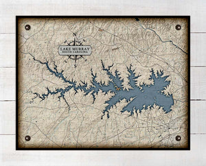 Lake Murray South Carolina Map Design - On 100% Natural Linen