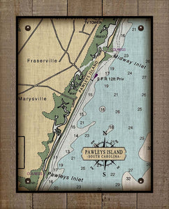 Pawleys Island South Carolina Nautical Chart - On 100% Natural Linen