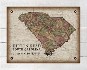 Hilton Head South Carolina Vintage Design - On 100% Natural Linen