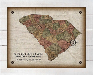 Georgetown South Carolina Vintage Design - On 100% Natural Linen