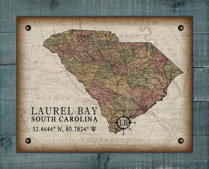 Laurel Bay South Carolina Vintage Design - On 100% Natural Linen