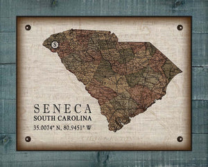 Seneca South Carolina Vintage Design - On 100% Natural Linen