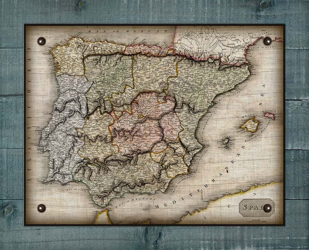 1800s Spain Map - On 100% Natural Linen