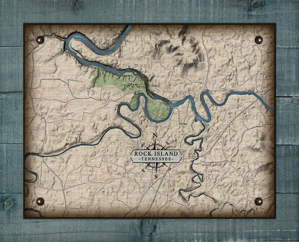 Rock Island Tennessee Map Design - On 100% Natural Linen