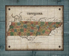 Load image into Gallery viewer, 1827 Tennessee Map Design - On 100% Natural Linen