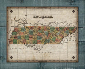 1827 Tennessee Map Design - On 100% Natural Linen