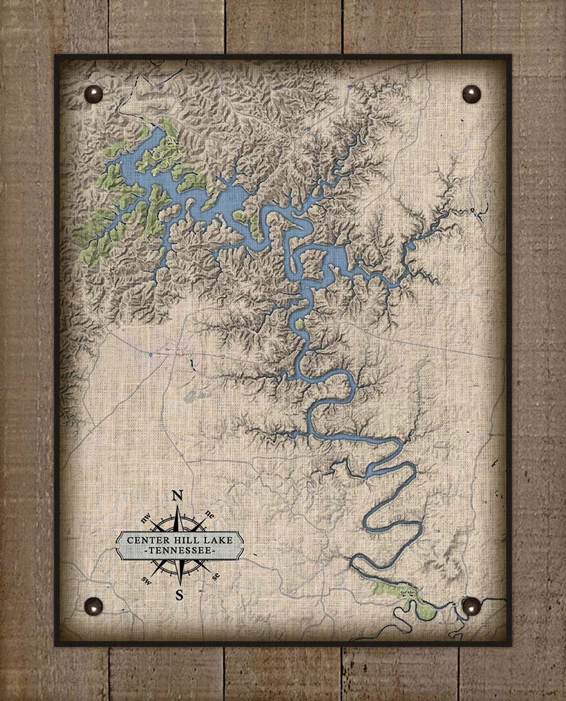 Center Hill Lake Tennessee Map Design - On 100% Natural Linen