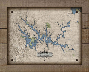 Tims Ford Lake Tennessee Map Design - On 100% Natural Linen