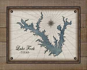 Lake Fork Texas Map Design - On 100% Natural Linen