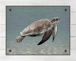 Sea Turtle - On 100% Natural Linen