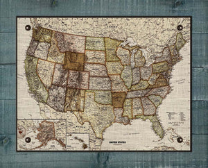 1900s United States Map - On 100% Natural Linen