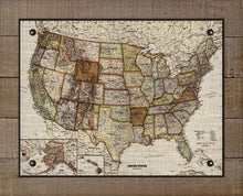 Load image into Gallery viewer, 1900s United States Map - On 100% Natural Linen