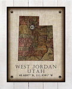 West Jordan Utah Vintage Design - On 100% Natural Linen
