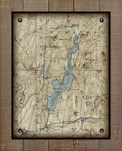 Lake Bomoseen Vermont Map Design - On 100% Natural Linen