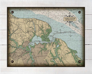 James River & Smithfield Virginia Nautical Chart - On 100% Natural Linen