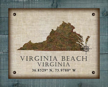Load image into Gallery viewer, Virginia Beach Virginia Vintage Design - On 100% Natural Linen