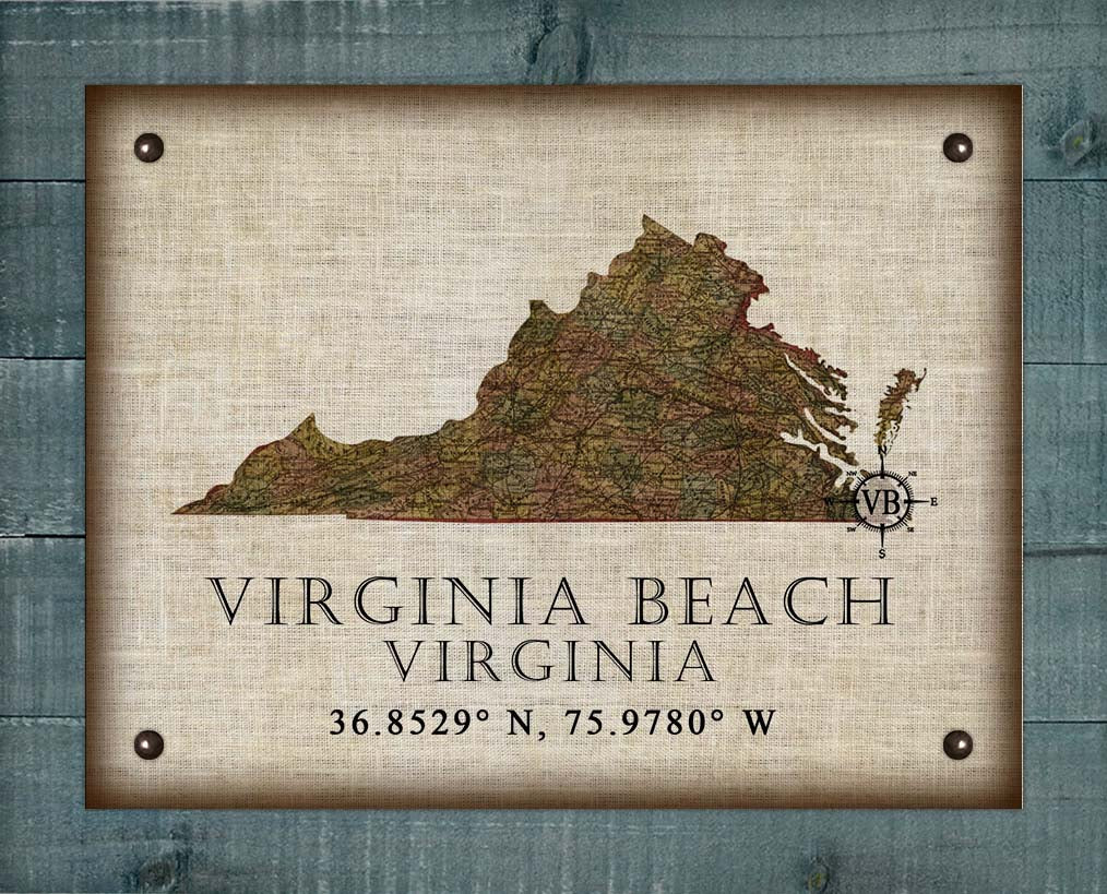 Virginia Beach Virginia Vintage Design - On 100% Natural Linen