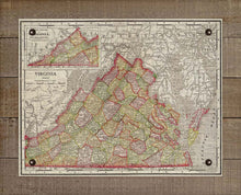 Load image into Gallery viewer, 1800s Virginia Map - On 100% Natural Linen