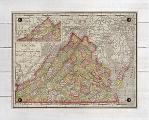 1800s Virginia Map - On 100% Natural Linen