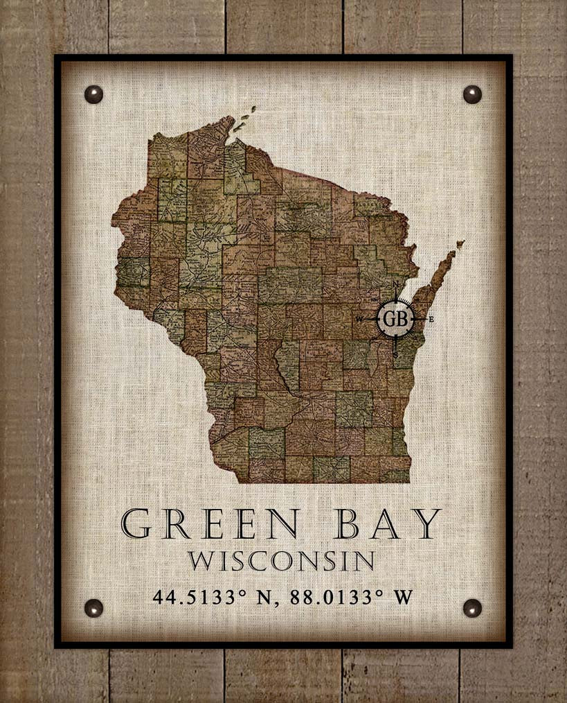Green Bay Wisconsin Vintage Design On 100% Natural Linen