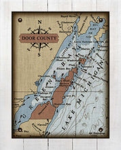 Load image into Gallery viewer, Door County Wisconsin Nautical Chart - On 100% Natural Linen