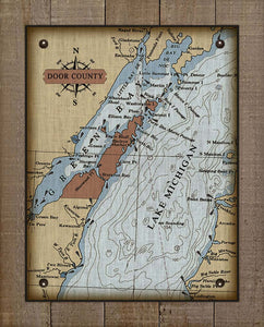 Copy of Door County Wisconsin Nautical Chart (2) - On 100% Natural Linen