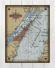Load image into Gallery viewer, Copy of Door County Wisconsin Nautical Chart (2) - On 100% Natural Linen