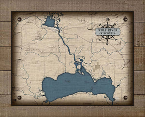 Wolf River Wisconsin Map Design - On 100% Natural Linen