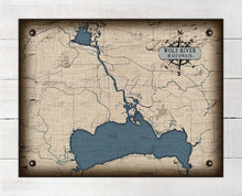 Load image into Gallery viewer, Wolf River Wisconsin Map Design - On 100% Natural Linen