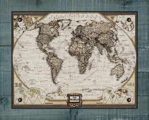 1900s World Map - On 100% Natural Linen
