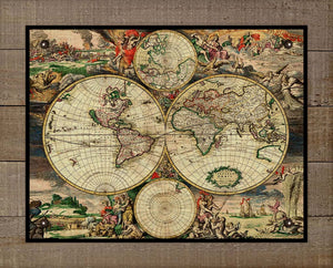 1690 World Map - On 100% Natural Linen