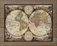 Load image into Gallery viewer, 1700s World Map - On 100% Natural Linen