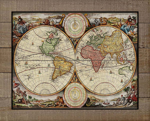 1700s World Map - On 100% Natural Linen
