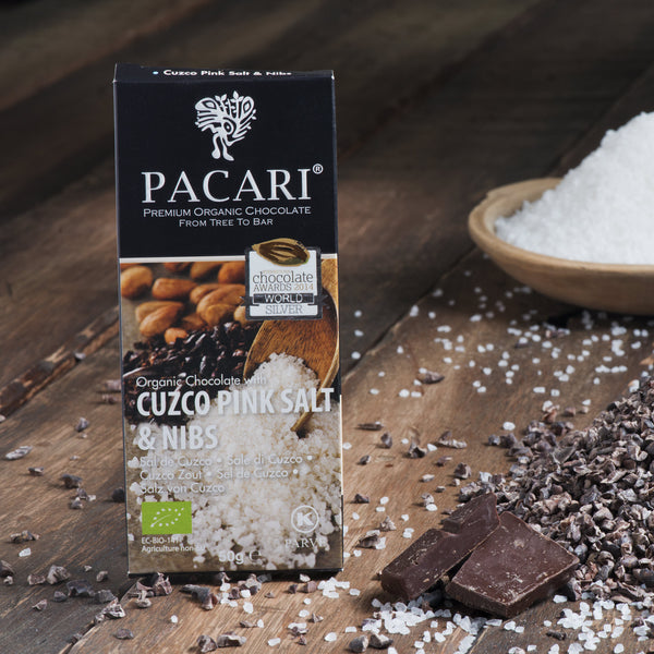 Pink Salt & Nibs Organic Chocolate Bar 50 gr.