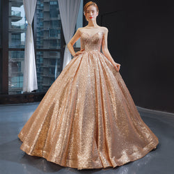 2020 New Sparkly Sequins Ball Gown