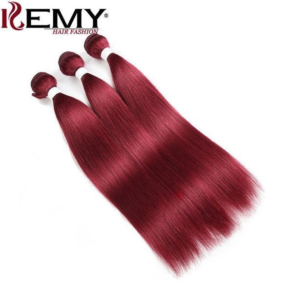BURG# Red Color Human Hair Bundles Remy Hair