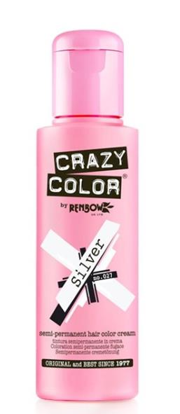 Crazy Color Semi Permanent Hair Dye Cream Silver 027 100ml - My Hair World