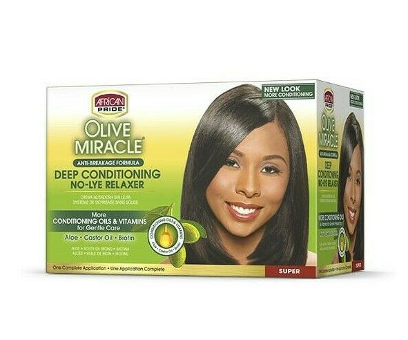 African Pride Olive Deep Conditioning No Lye Relaxer Kit Super - My Hair World