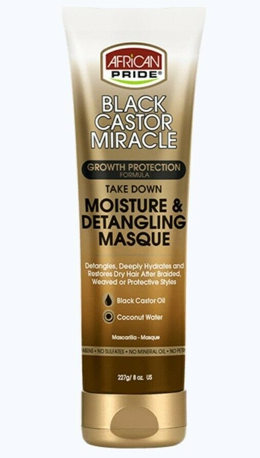 African Pride Black Castor Miracle Take Down Moisture & Detangling Masque 227g - My Hair World