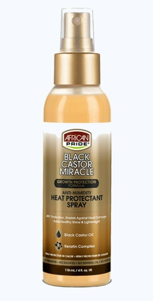 African Pride Black Castor Anti-Humidity Heat Protectant Spray 118ml - My Hair World