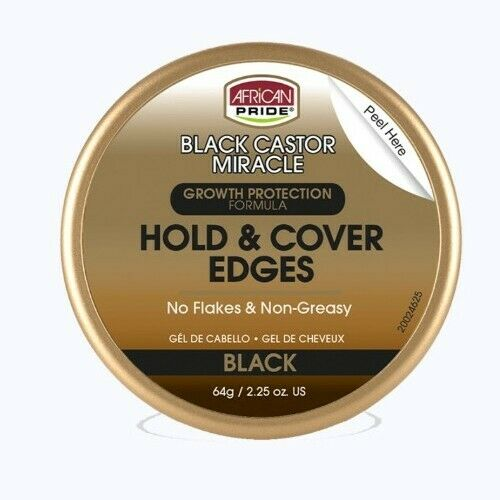 African Pride Black Castor Miracle Hold & Cover Edges Gel 64g 2.25oz - My Hair World