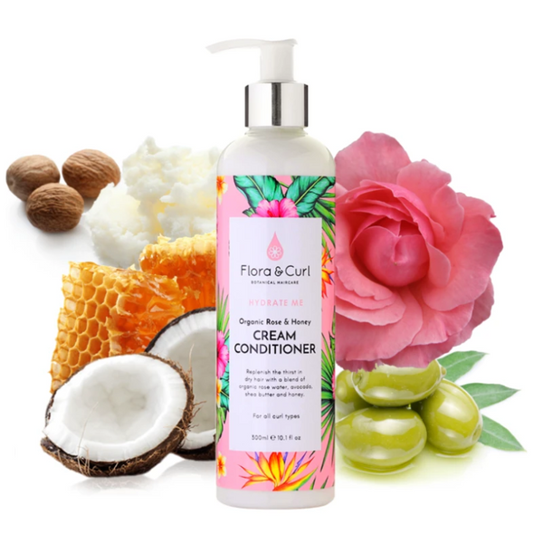 Flora & Curl Rose & Honey Cream Conditioner 300ml - My Hair World