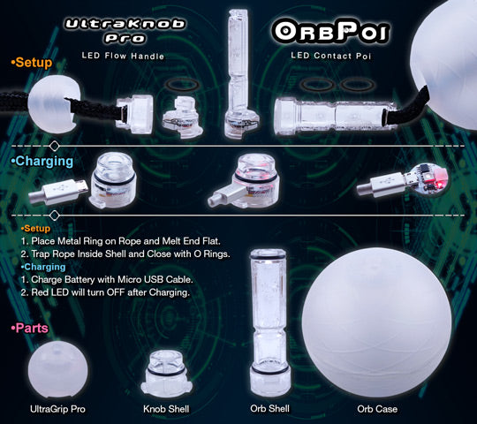 Orb Poi LED Contact Poi