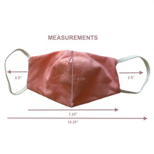 Load image into Gallery viewer, Children's Reusable Double Soft Cotton Layer Face Mask Pink Measurements - Avaran USA